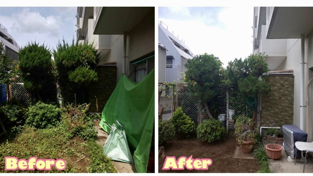 202106マンション1階庭植栽管理03 稲葉造園